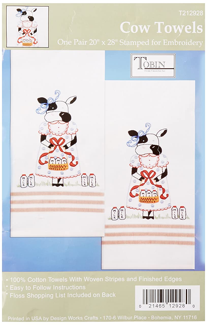Tobin T212928 Stamped Kitchen Towel for Embroidery, Cow