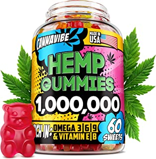 Hemp Gummies - 1 000 000, 60 Sweets - Stress, Insomnia & Anxiety Relief - Made in USA - Tasty & Relaxing Herbal Gummies - Premium Extract - Mood & Immune Support - Omega 3-6-9 Complex