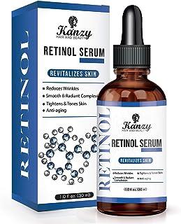KANZY Retinol Sérum 2.5% con ácido hialurónico para el acné antienvejecimiento Círculos oscuros Arrugas aceite facial acei...