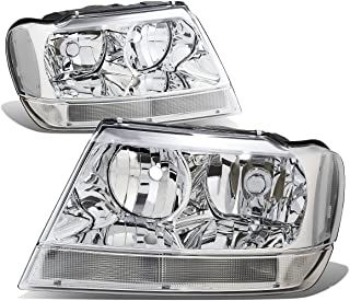 For 99-04 Jeep Grand Cherokee WJ Pair of Chrome Housing Clear Corner Headlights/Lamps