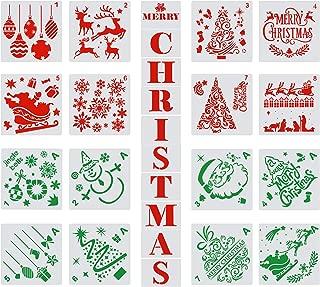 26 Pieces Christmas Stencils Templates Christmas Letters Xmas Trees Santa Reindeer Painting Stencils Reusable Plastic Craft Templates for DIY Christmas Decoration