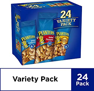 Planters Nuts Variety Pack (Salted Cashews of 6 Count, Salted Peanuts of 12 Count, Honey Roasted Peanuts of 6 Count)