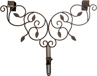 [Front Door WREATH HANGER] - Ivy Design | ADJUSTABLE Hook Length for Tall and Small Doors | PADDING to Prevent Damage like Scratch and Dents | Heavy Duty Cast Iron Metal Hangar - (Brown)