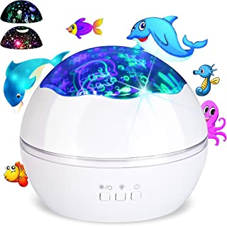 Colorful Undersea World/Star Night Light Projector for Kids, Baby Nursery Night Lamp 8 Colors Rotating Lights, Best for Children's Toddler's Gift to Stimulate Curiosity and Imagination White