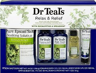 Dr Teal's Eucalyptus & Spearmint Relax & Relief Full Regimen 5-piece Gift Set (Epsom Salt Soaking Solution, Foaming Bath, ...