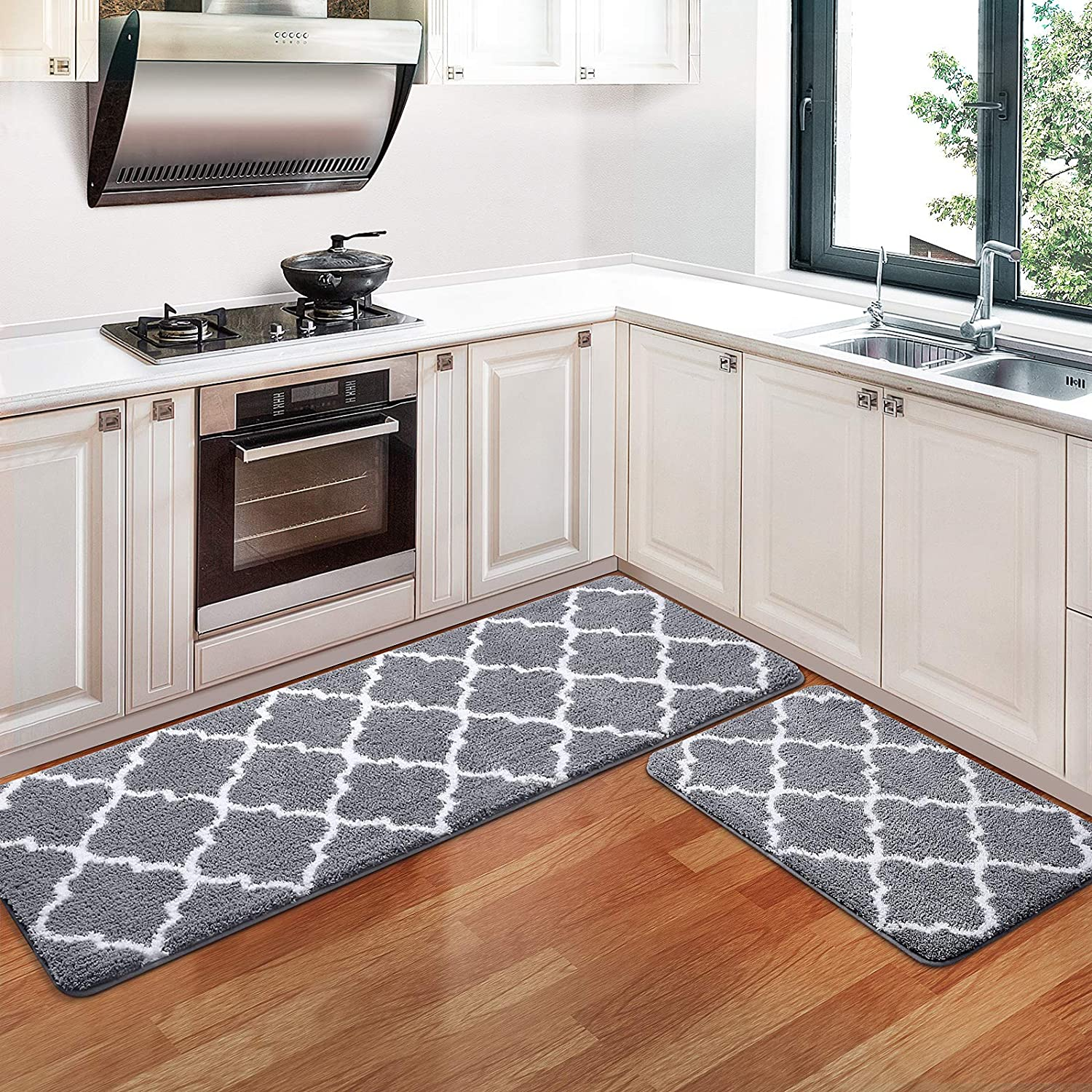 Amazon Com Kmat Kitchen Rugs And Mats 2 Pcs Super Absorbent Microfiber Kitchen Mat Non Slip Machine Washable Runner Carpets For Floor Kitchen Bathroom Sink Office Laundry 17 3 X28 17 3 X47 Grey Kitchen Dining