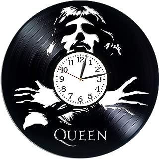 Kovides Rock Band Clock Freddie Mercury Wall Art Birthday Gift for Fan Lp Vinyl Retro Record Wall Clock Vintage Queen Gift Rock Music Art Freddie Mercury Clock Xmas Gift Idea for Him