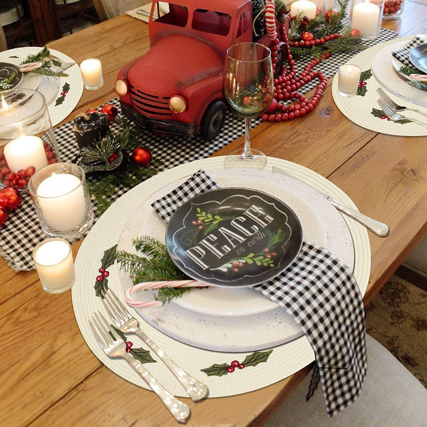 wartleves Christmas Placemats Set of 4 Embroidered Red Placemats for Dining Table Dinner Mats for Christmas Winter New Year Thanksgiving Decorations 15 Inch