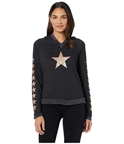 Hard Tail Raglan Hoodie (Black/Rose Gold Stars) Women