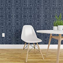 Spoonflower Non-Pasted Wallpaper, Navy Mudcloth Mud Cloth African Tribal Indigo and Print, Swatch 12in x 24in