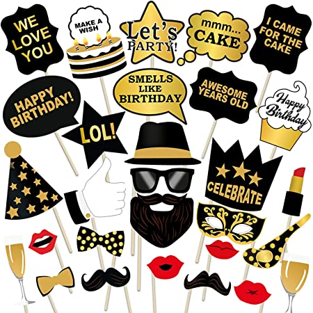 party propz birthday photo booth props 29pcs set with funny crown fun mask hats beard happy face wig mustache prop for boys girls kids selfie photobooth,birthdays parties items decorations supplies- Multi color