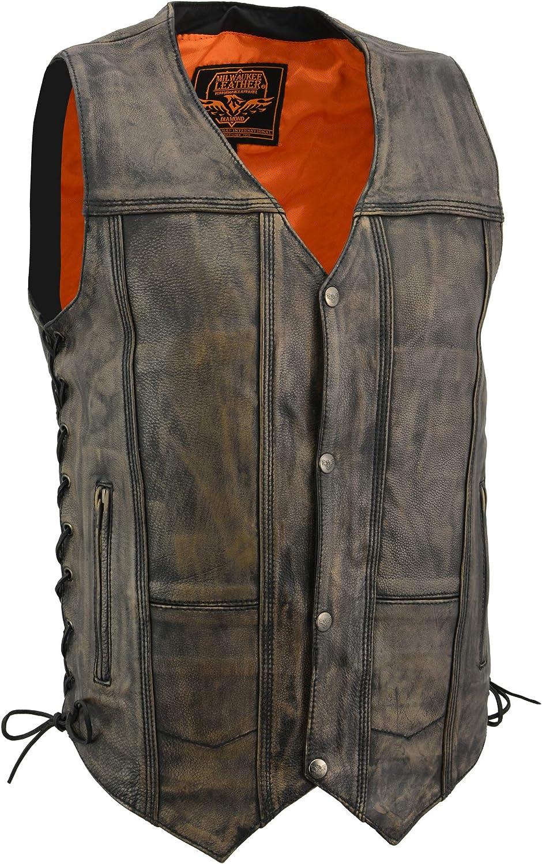 Milwaukee Distressed Brown Men's Motorcycle 10 Pockets Leather Vest Side Laces Gun Pocket (2XL Regular)