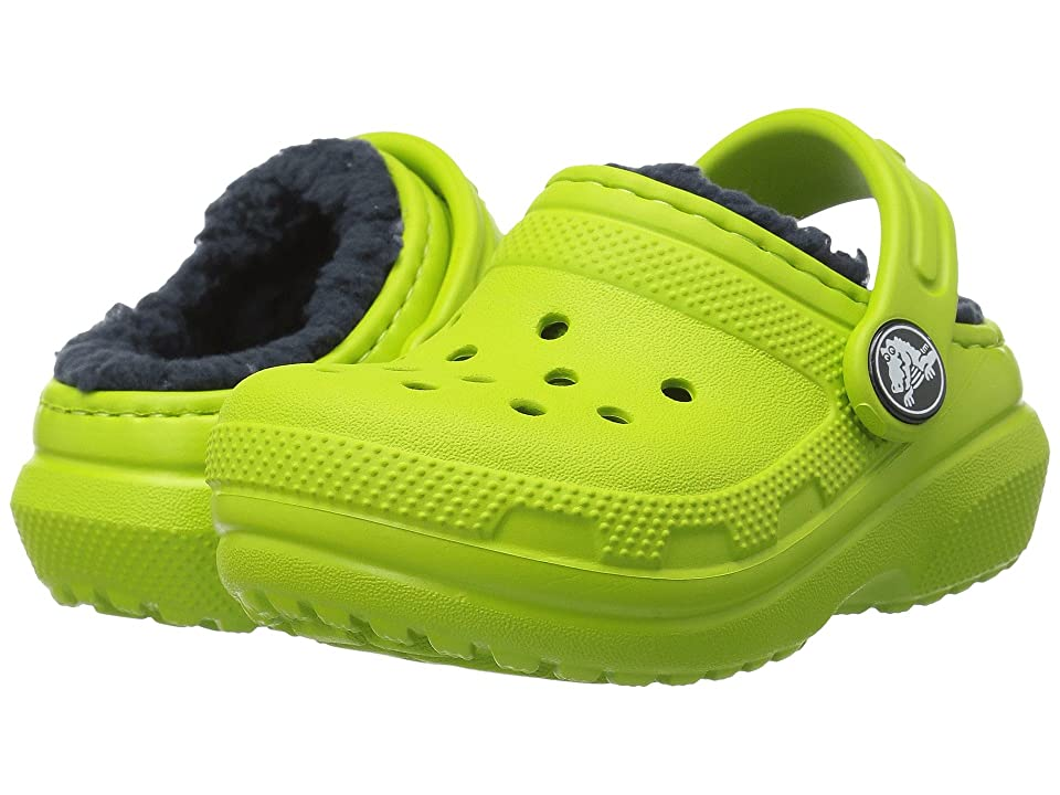 Crocs Kids Classic Lined Clog (Toddler/Little Kid) (Volt Green/Navy) Kids Shoes