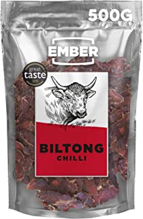 Ember Biltong Großpacksack - Beef Jerky Chilli - Proteinreicher Snack - Chili 1x500g
