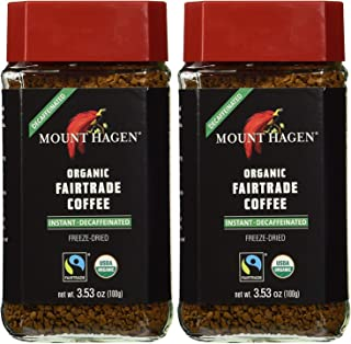 Mount Hagen Organic Coffee – Premium Cafe Decaffeinated Dark Ground 3.53 oz Instant Coffee Granules, Small Batch Roasted (Pack of 2)
