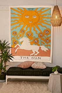 Tarot Flag Tapestry - The Sun - Bohemian Cotton Printed Hand Made Wall Hanging Tapestries with Steel Grommets, Beige