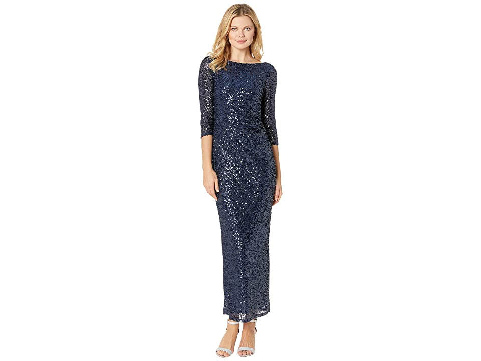 MARINA 3/4 Sleeve Sequined Gown w/ Cowl Back (Navy) Women