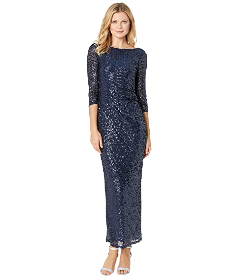 MARINA 3/4 Sleeve Sequined Gown W/ Cowl Back, Navy