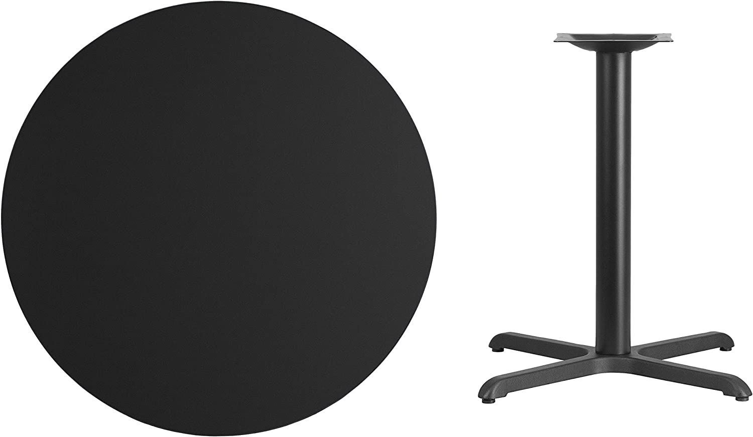 Flash Furniture 36'' Round Black Laminate Table Top with 30'' x 30'' Table Height Base