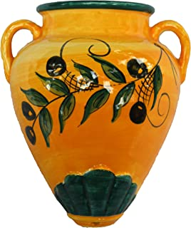 Cactus Canyon Ceramics Spanish Hand-Painted Wall Tinaja Flower Pot, Olivas