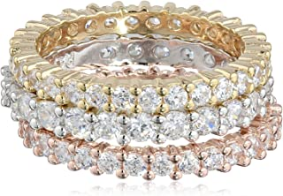 Sterling Silver Cubic Zirconia All-Around Band Stacking...