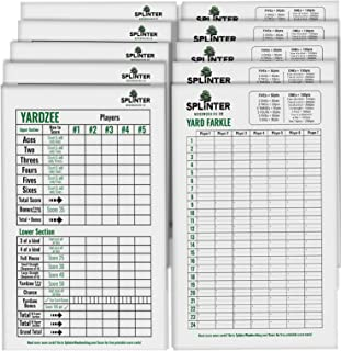 Splinter Woodworking Co. 5 Big Laminated Yardzee Score Cards & 5 Yard Farkle Score Cards (11.5in x 8in) with Rules   Large Reusable Dry Erase Pads for Giant Outdoor Dice Games   Jumbo Score Sheet