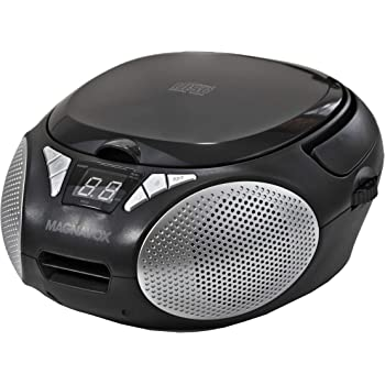Magnavox MD6924 Portable Top Loading CD Boombox with AM/FM Stereo Radio in Black | CD-R/CD-RW Compatible | LED Display | AUX Port Supported | Programmable CD Player |