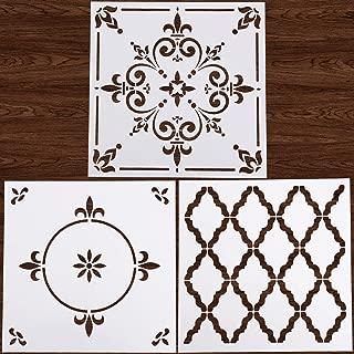 LOCOLO 3Pcs Mandalas Stencils Reusable 12x12 inch Tile Floor Stencil for Floor Furniture Wood Painting DIY Home Decor Drawing Art