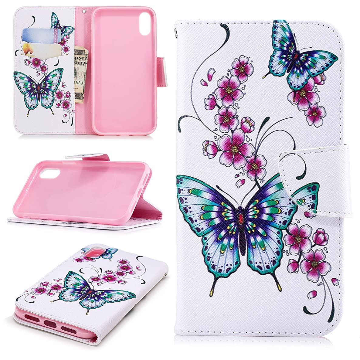 Cfrau Wallet Case with Black Stylus for iPhone XR,Slim Colorful Print Magnetic Flip Soft Silicone Card Slots Stand Full Body PU Leather Case for iPhone XR 6.1 inch,Green Butterfly