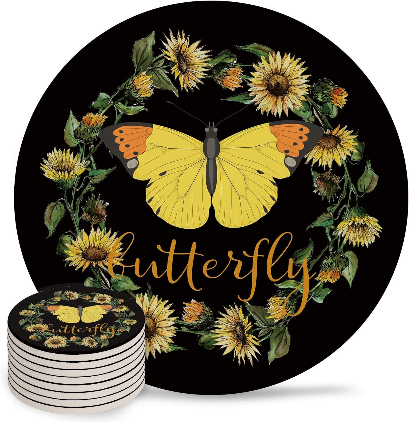 Butterfly Albuquerque Mall Max 82% OFF Ceramic Coasters for Drinks Cup Absorbent Set 8-Piece