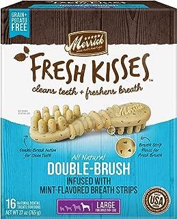 Merrick Fresh Kisses Double-Brush Mint Breath Strips Grain Free Dental Dog Treats