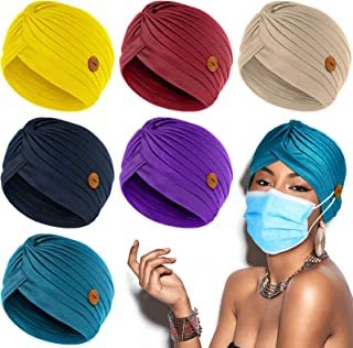 Syhood Turbans Cap with Button Women Pre-Tied Knot Pleated Headwrap Beanie Soft Sleep Hat India's Hat