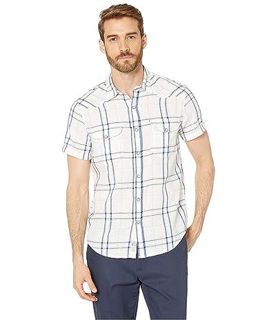 Lucky Brand Short Sleeve Plaid Western Shirt (White Plaid/Multi) Men