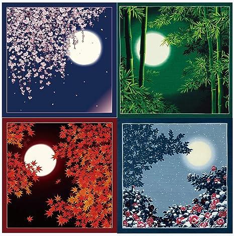 FUROSHIKI JAPANESE Traditional Wrapping Cloth Cotton 50cm Cherry Blossom Moon