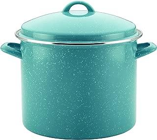 Paula Deen 46257 Enamel on Steel Stock Pot/Stockpot with Lid, 12 Quart, Gulf Blue Speckle