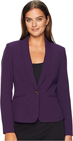 Crepe One-Button Shawl Collar Jacket