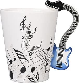 JJHUA Ceramic Music Notes Coffee Mug Tea Cup, Blue Electric Guitar