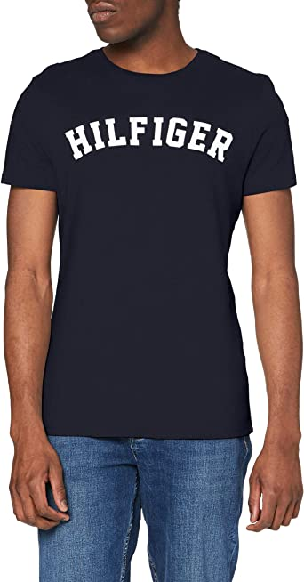 Tommy Hilfiger Logo Camiseta de Cuello Redondo,Perfecta para El Tiempo Libre para Hombre