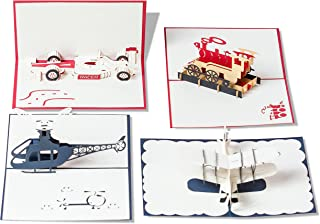 Pop Up Cards Set for Kids. Boys will Love these 3D Christmas or Birthday Cards (4 Pack)