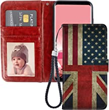 US and UK Flag Samsung Galaxy S8 Plus Wallet Case PU Leather Cover and TPU Protective Phone case with Card Holder Magnetic Folio Flip Samsung Galaxy S8 Plus Case Wallet
