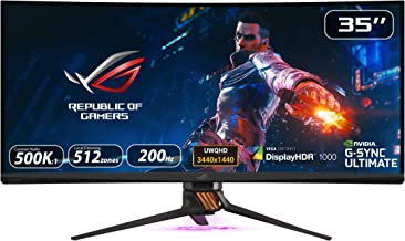 """$1959 » Asus ROG Swift PG35VQ 35"""" Curved HDR Gaming Monitor 200Hz (3440 X 1440) 2ms G-Sync Ultimate Eye Care DisplayPort HDMI USB Aura Sync HDR10 Displayhdr 1000 (Renewed)"""