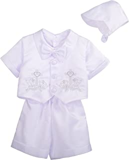 Dressy Daisy Baby Boys' 4Pcs Short Sleeves & Pants Baptism Christening Outfit With Bonnet