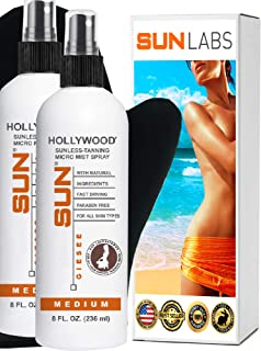 Spray Tan at Home Sunless Tanning Hollywood Medium 8oz Micro-Mist Self Tanner 2- Pack +Tanning Mitt (Packaging May Very)