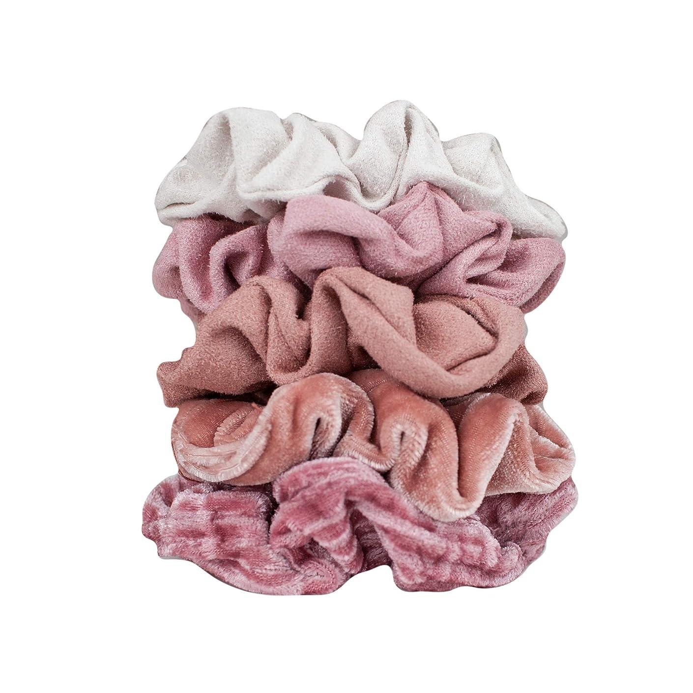 Velvet Hair Scrunchies for Women- 5 pack Velvet Scrunchie for Ponytails, Braids and Buns (Matte Velvet Blush)