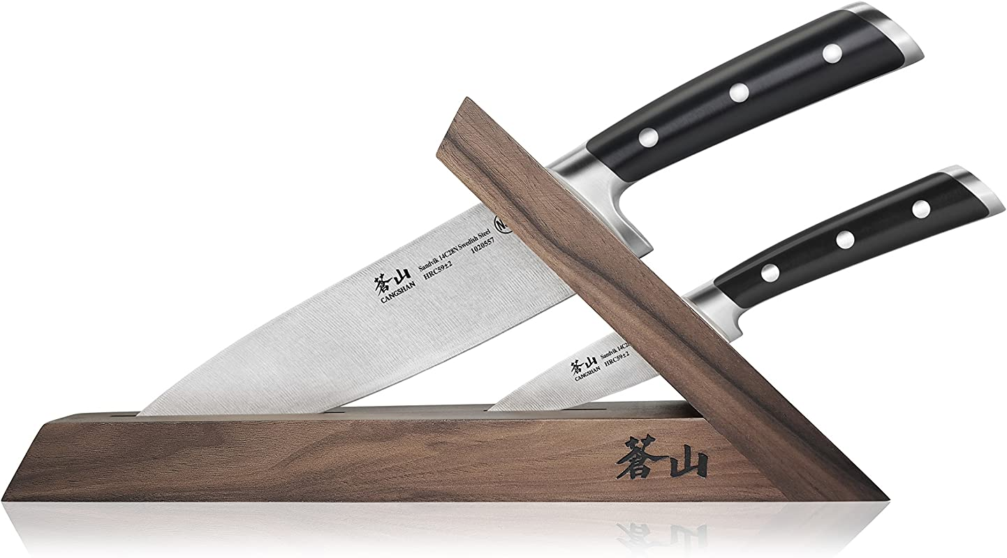 Cangshan TS Series 1021417 Swedish Sandvik 14C28N Steel Forged 3 Piece TAI Knife Block Set Walnut