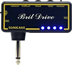 SONICAKE Amphonix Brit Drive Classic Crunch USB Chargable Headphone Pocket Guitar Amp w/h Built-in Effects and AUX input, USB Chargable Cable and 3.5mm Male to Dual 3.5mm Female Headset Spliter Includ