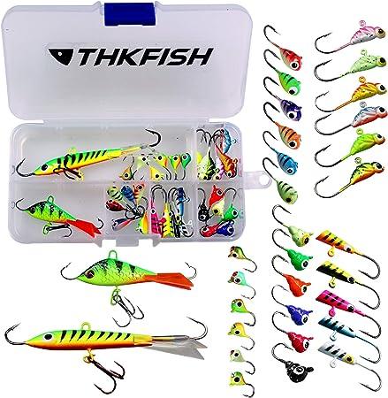 thkfish 31Pcs Ice Fishing Jigs