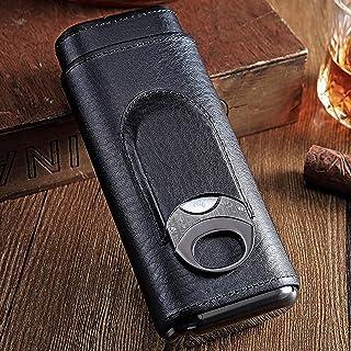 High Quality 3-Finger Cigar Humidors Portable Cigar Box Black Cigar Leather Case with Cigar Cutter