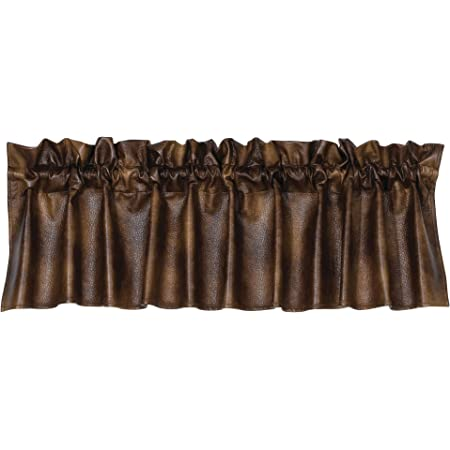"""1 Chocolate Faux Leather Rustic Country Farmhouse Valance 84/"""" x 18/"""""""