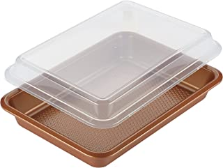 Ayesha Curry 47004 Nonstick Bakeware Nonstick Baking Pan With Lid / Nonstick Cake Pan With Lid, Rectangle - 9 Inch x 13 Inch, Brown, Copper